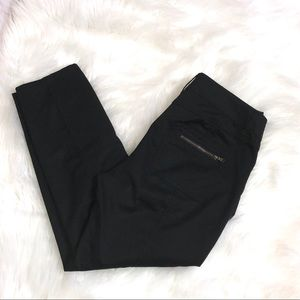 Cache Black Cropped Snap Ankle Pants Size 6